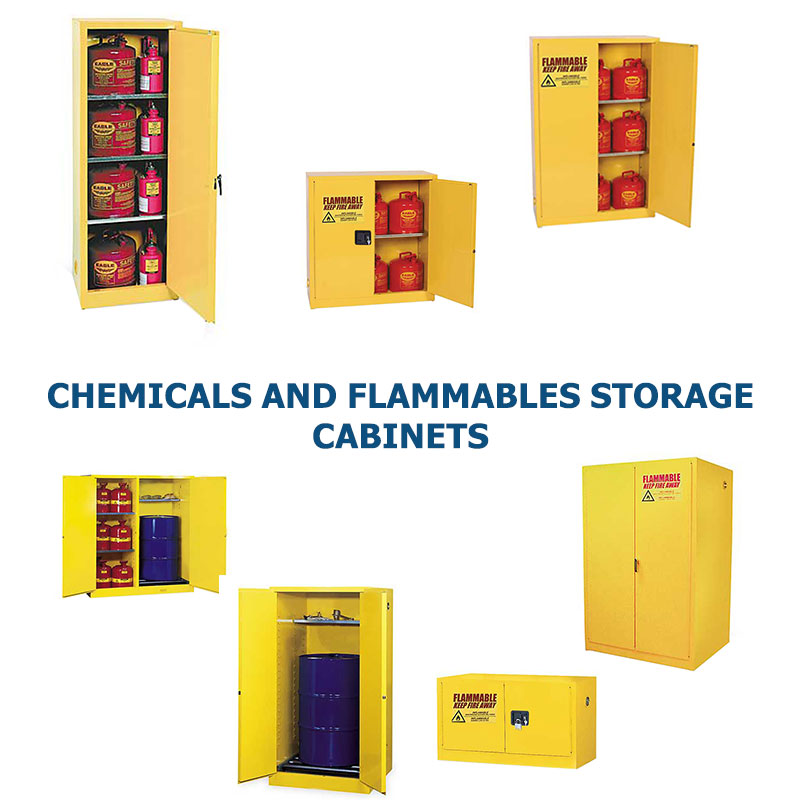 Different sizes and styles of yellow chemical storage cabinets sold by G2 shown grouped together to represent a link to the G2 Chemicals and Flammables Storage Cabinets page