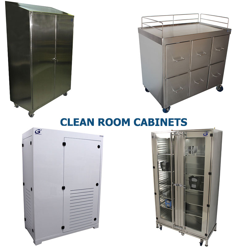 Four different styles of polypro and stainless steel clean room cabinets manufactured by G2 shown grouped together to represent a link to the G2 Clean Room Cabinets page
