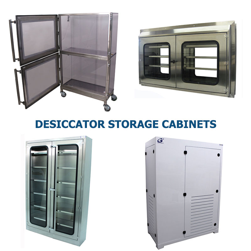 Four different styles of polypropylene and stainless steel desiccator or drying cabinets manufactured by G2 shown grouped together to represent a link to the G2 Desiccator Storage Cabinet page