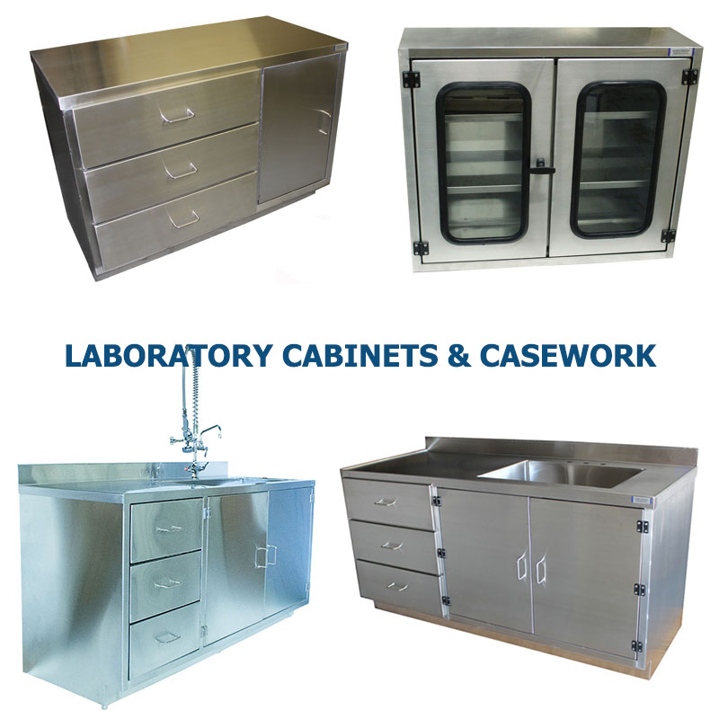 Four different styles of laboratory facility stainless steel cabinets manufactured by G2 shown grouped together to represent a link to the G2 Stainless Steel Laboratory Cabinets and Casework page