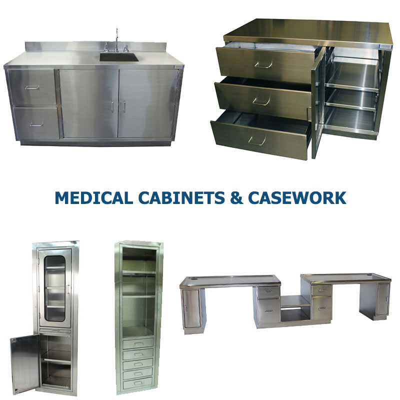 Four different styles of medical facility stainless steel cabinets, desks, and sinks manufactured by G2 shown grouped together to represent a link to the G2 Medical Cabinets and Casework page