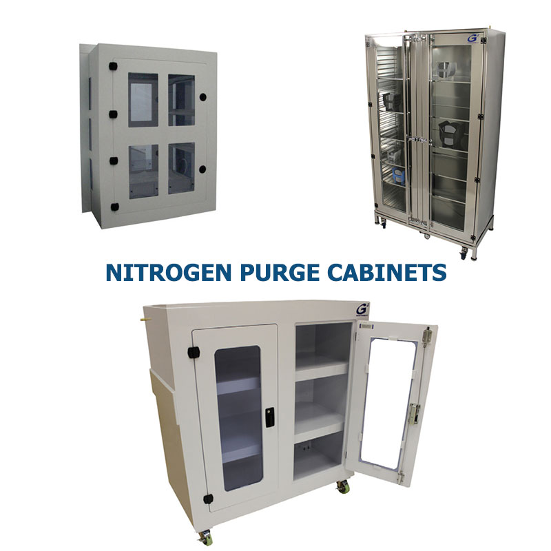 Three different styles of polypropylene and stainless steel nitrogen purge cabinets manufactured by G2 shown grouped together to represent a link to the G2 Nitrogen Purge Cabinet page