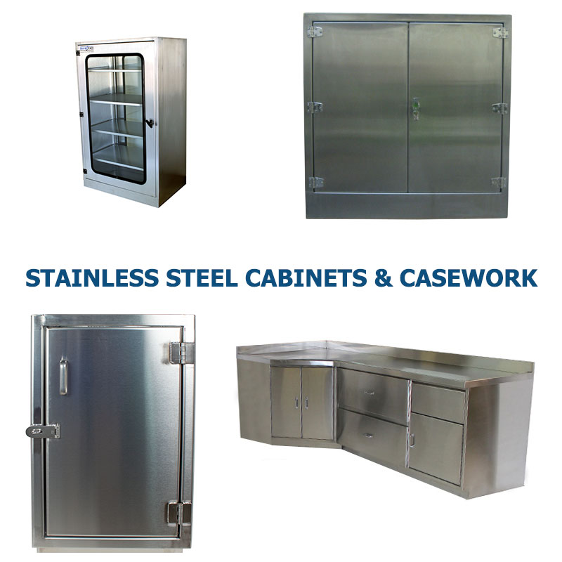 Four different styles of stainless steel cabinets manufactured by G2 shown grouped together to represent a link to the G2 Stainless Steel Cabinets and Casework page