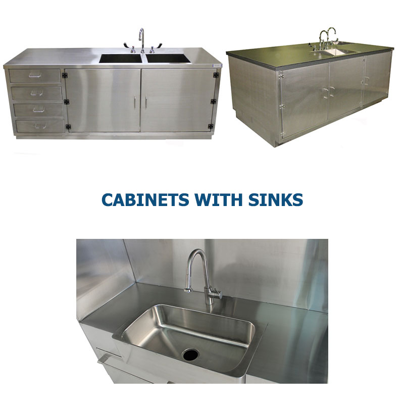 Three different styles of stainless steel cabinets with integrated plumbing and sinks manufactured by G2 shown grouped together to represent a link to the G2 Stainless Steel Cabinets with Sinks page