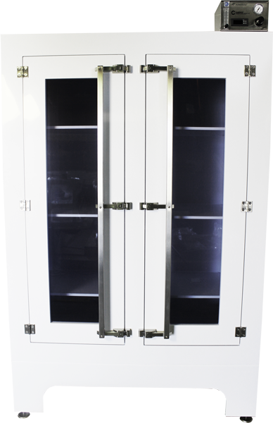 G2 RetiRacks™ Polypropylene Nitrogen Purge Cabinet with Safety Glass Vewing Windows front view of white cabinet body, nitorgen purge controller on top, and reflections in glass