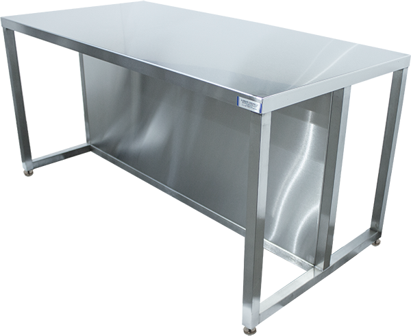 G2 EnduraSteel stainless steel two sided customs table with privacy skirt separating the two sides